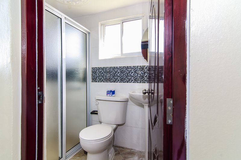 Full bathroom with hot shower with hot water