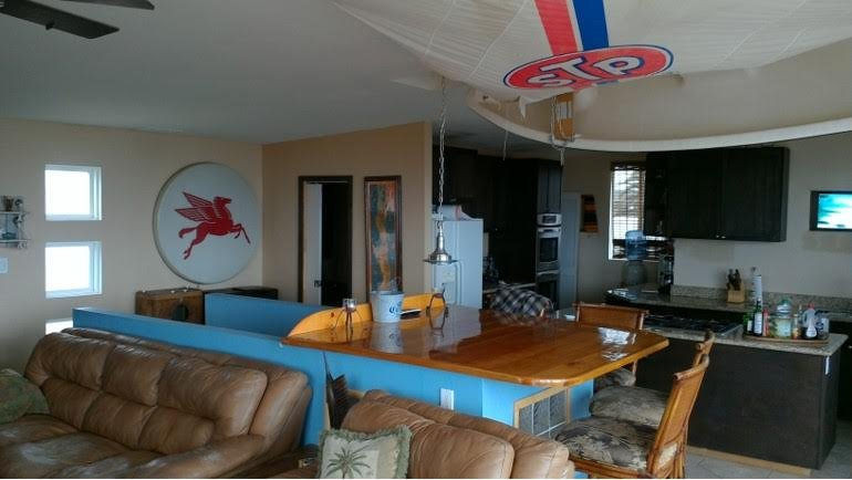 Fiesta Table, view of Sailboat on ceiling across to kitchen