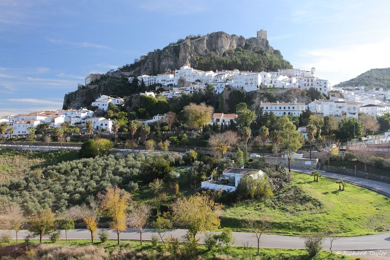 The pretty white hillside village of Zahara de la Sierra, 15 km from the property