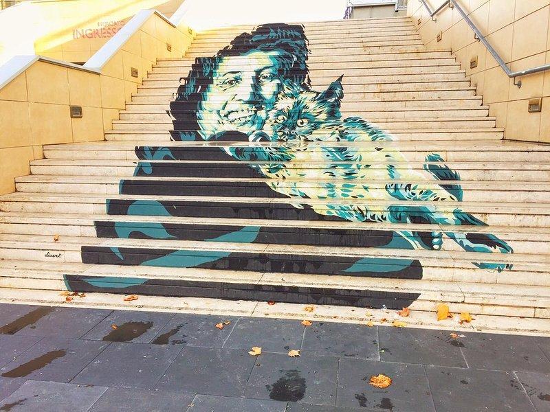 Homenagem a Anna Magnani Escadas Mercado triunfante