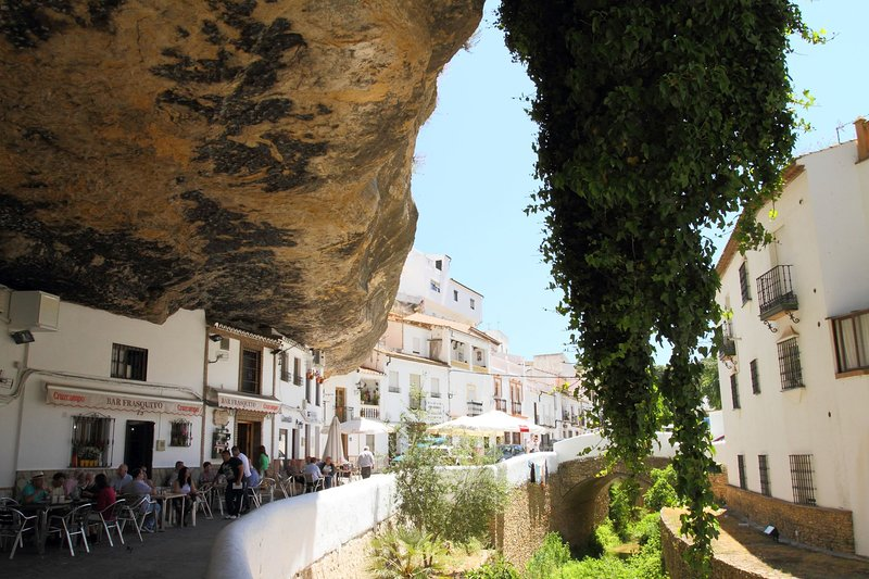 Fascinating Setenil de las Bodegas, 30 km away, with houses built into the overhanging rocks