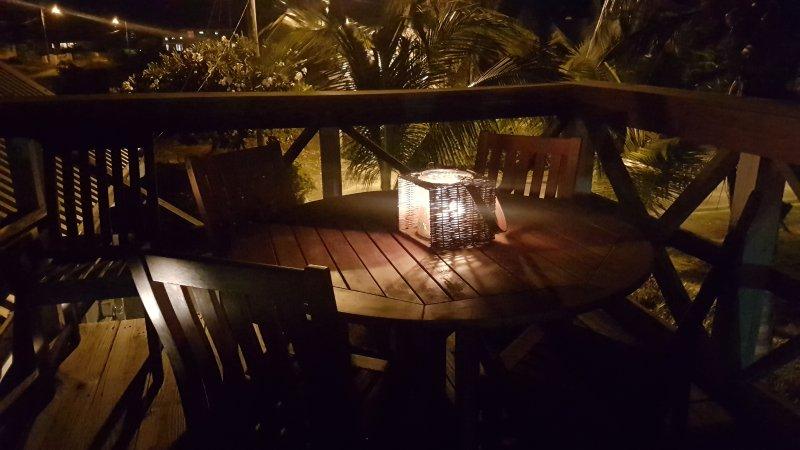 Terrasse sur le toit la nuit