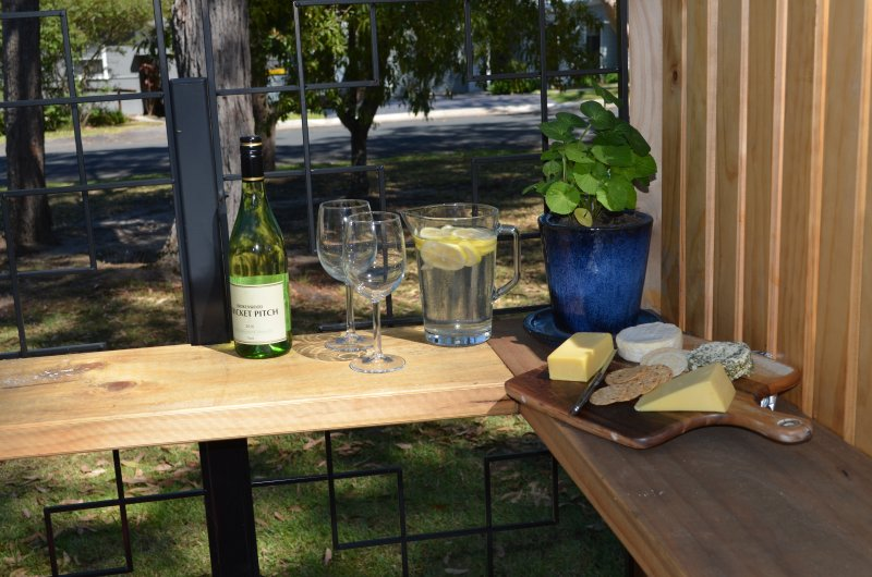 Wine and cheese in the private courtyard bar - good at any time of the day!
