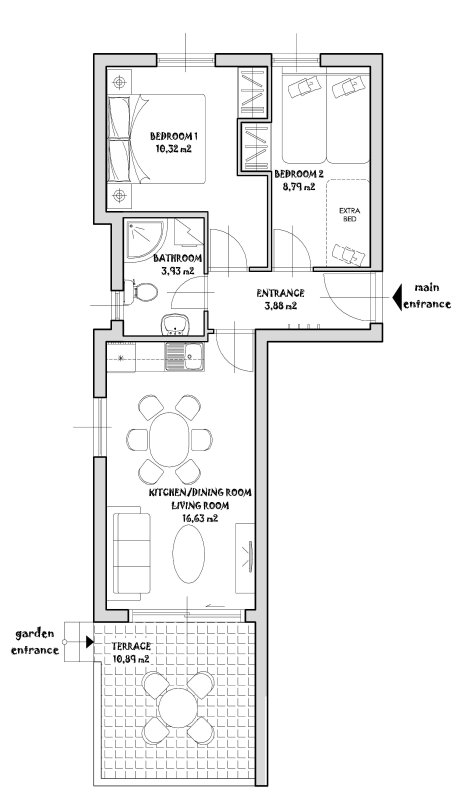Apartment plan with detailed measurements