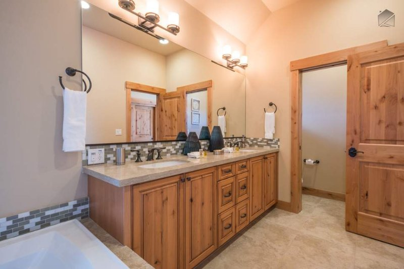 A double vanity in the Master Bathroom provides plenty of space for getting ready in the morning.