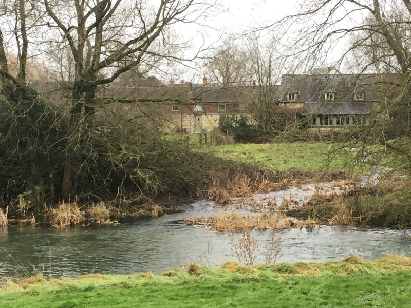 View of the rear of the cottage across The Thames and orchard