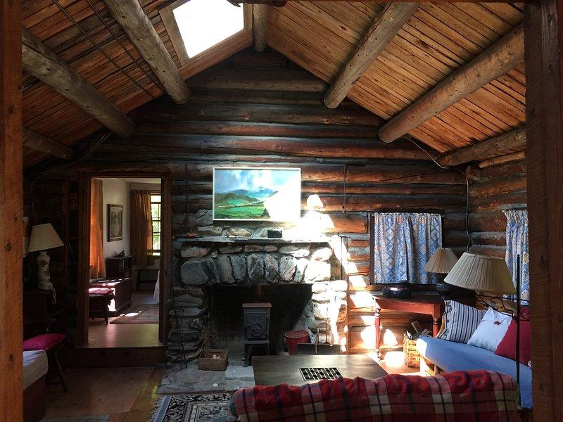 sala de estar con estufa de leña y un tragaluz
