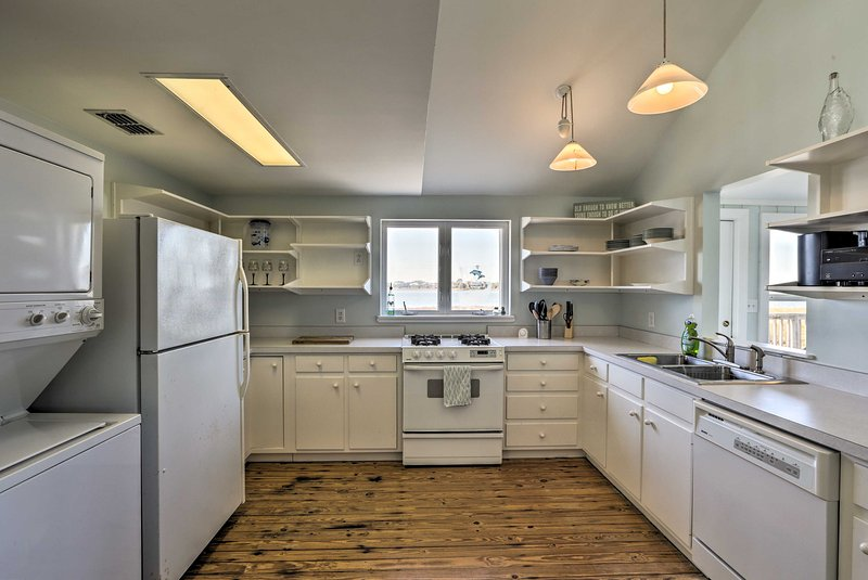Fully equipped, the kitchen has everything you need to cook for a crowd!