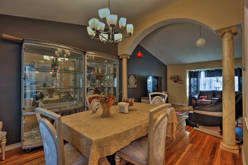 Gather in the dining room to share a meal with family or friends.