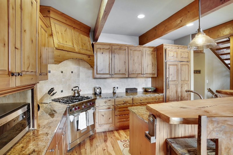 Gourmet chef kitchen with high-end appliances