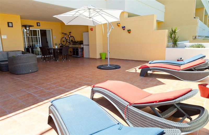 Large terrace area with quality sun beds