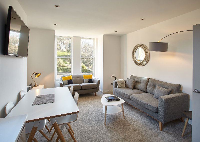 Open plan living room with views across Pannett Park