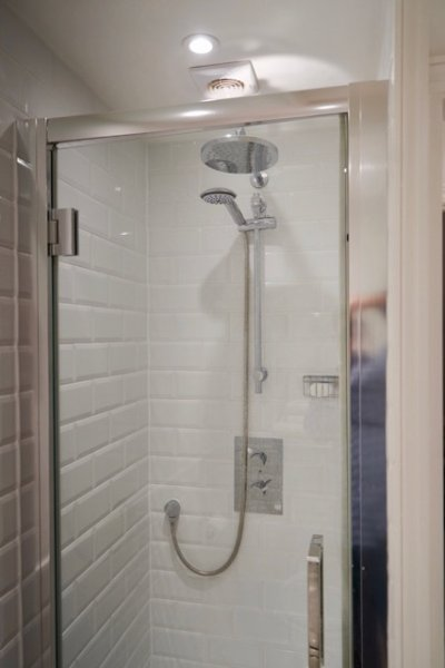 Stand alone shower in bathroom