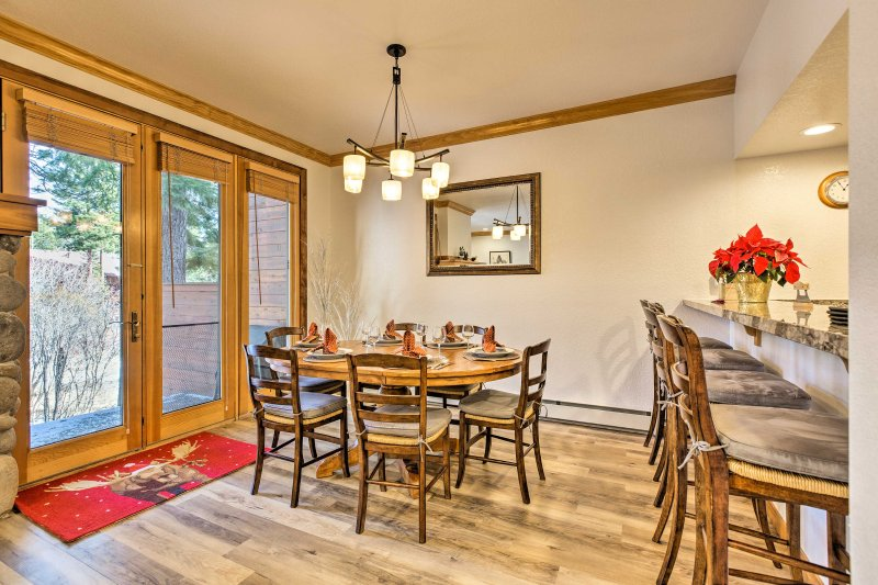 Gather around the dining table to enjoy your home-cooked meals.
