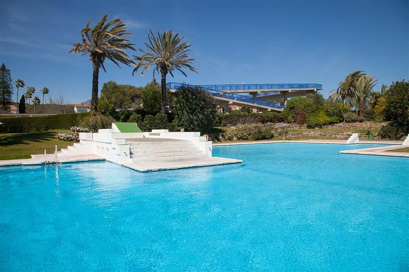 One of the swimming pools available in the property