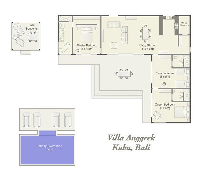 Layout di Villa Anggrek (garage, lavanderia non mostrata)