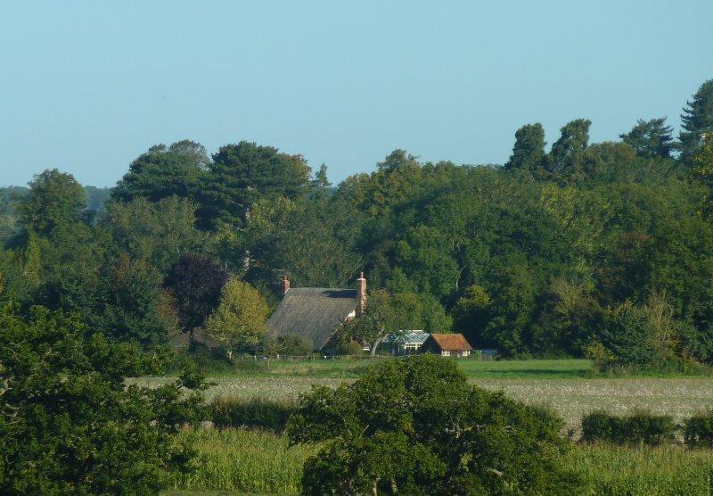 Om man tittar på Frieze Cottage och Rose Lodge från över fälten.