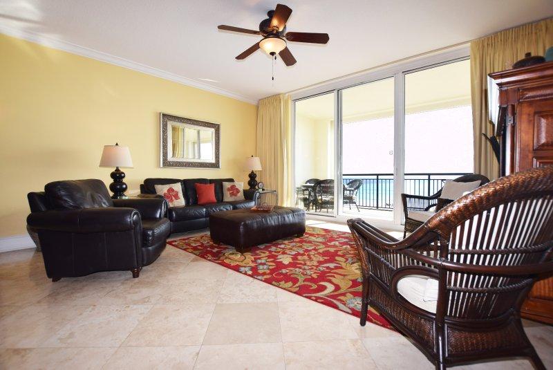 Salon avec balcon - Bella Riva Resort, Île d'Okaloosa Fort Walton Beach Floride Locations de Vacances
