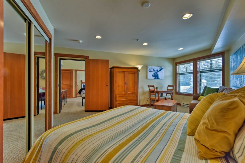 The master bedroom comes complete with a queen-sized bed and queen sleeper sofa.
