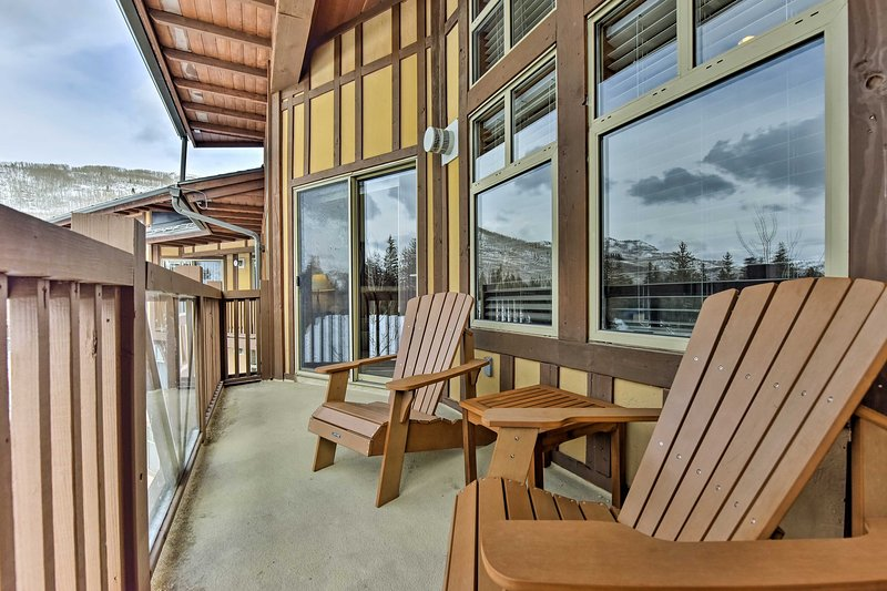 Take in the gorgeous views of the mountains from your private balcony.