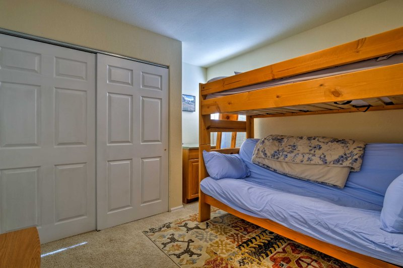 The bunk room, with a twin-over-full bunk bed, is perfect for the young ones!