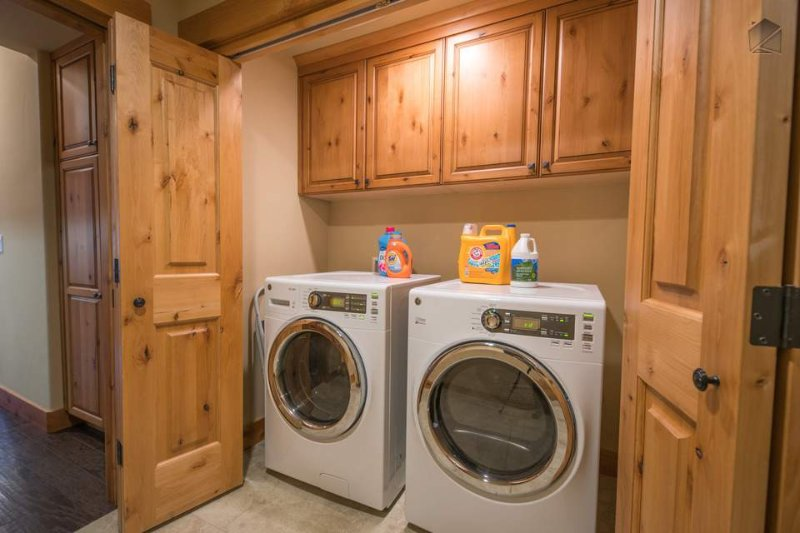 The laundry room has a washer and dryer, for your convenience.