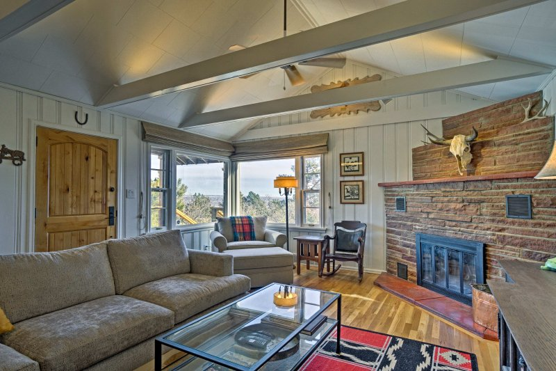 With vaulted ceilings and exposed beams, this room evokes a tranquil ambiance.