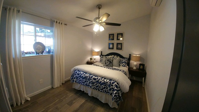 'The Blue Room' also has a queen bed with pillow top mattress and walk in closet with dresser.