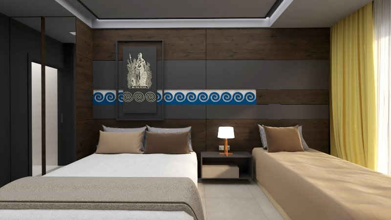katrin luxury interior room, with elegance design in greek ancient style .....