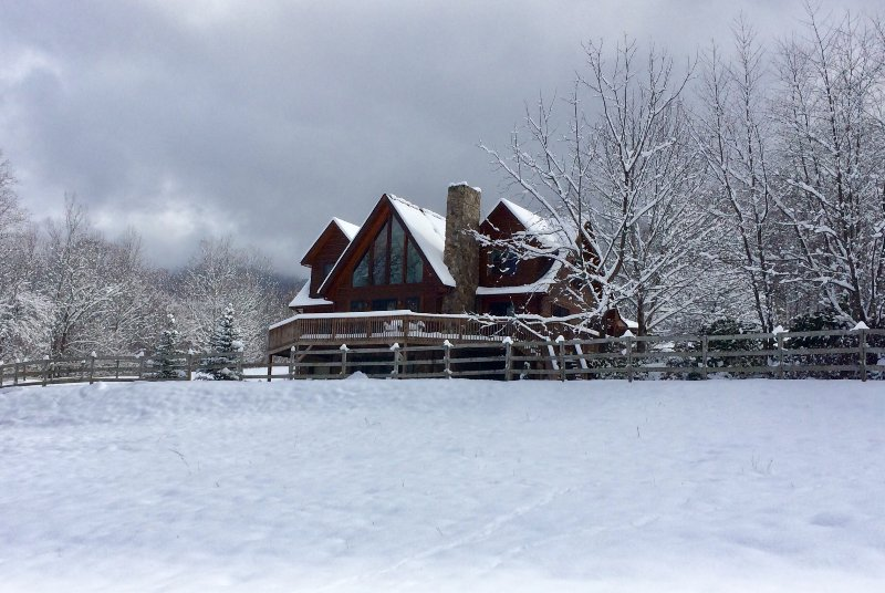 Cabin after beautiful snow