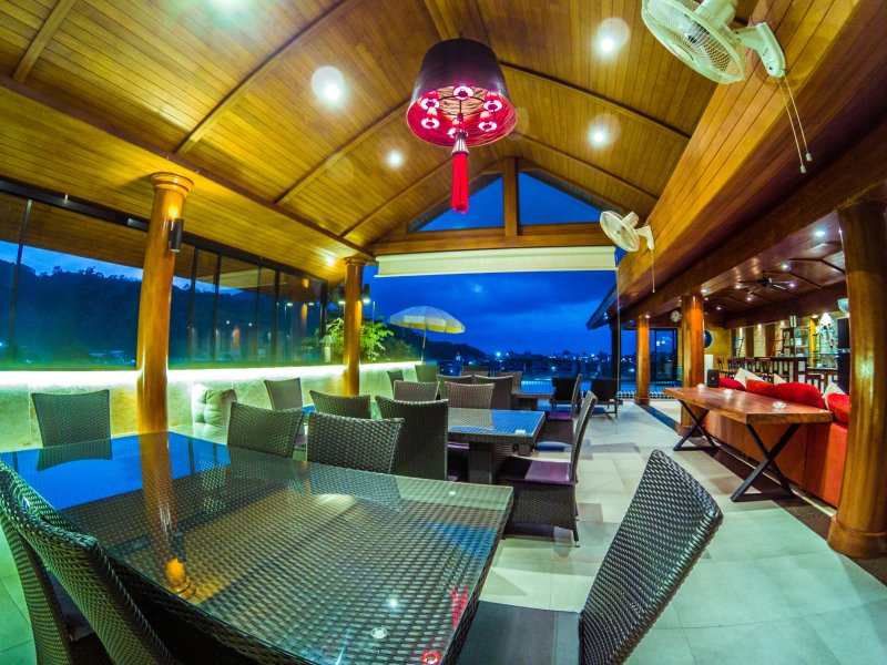 Covered dining area pool terrace