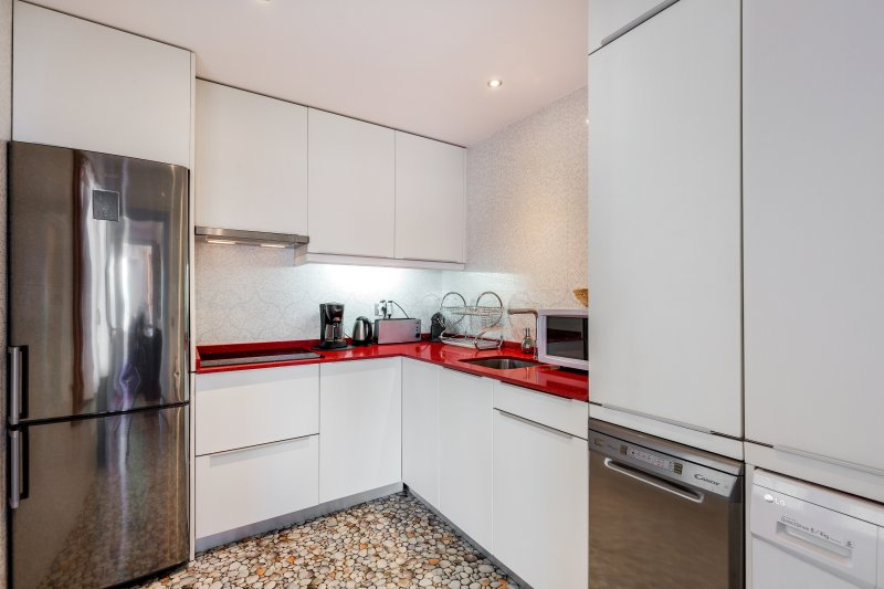 Modern kitchen will high end appliances, wsher dryer, nespresso machine and more