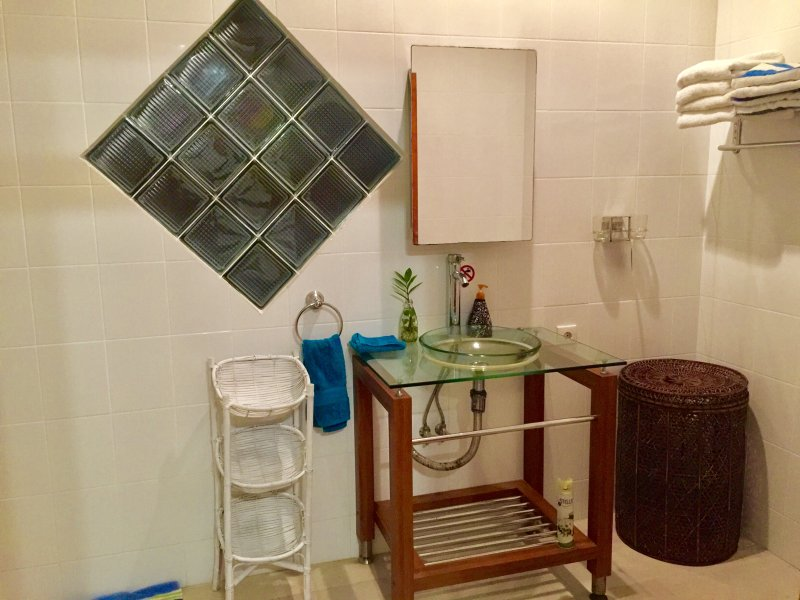 grande salle de bains complète, tous les draps, serviettes, serviettes de piscine fournis. Suite King salle de bain complète