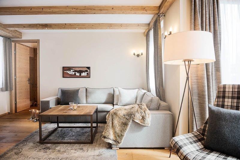 Wohnzimmer im Appartement Valluga 1