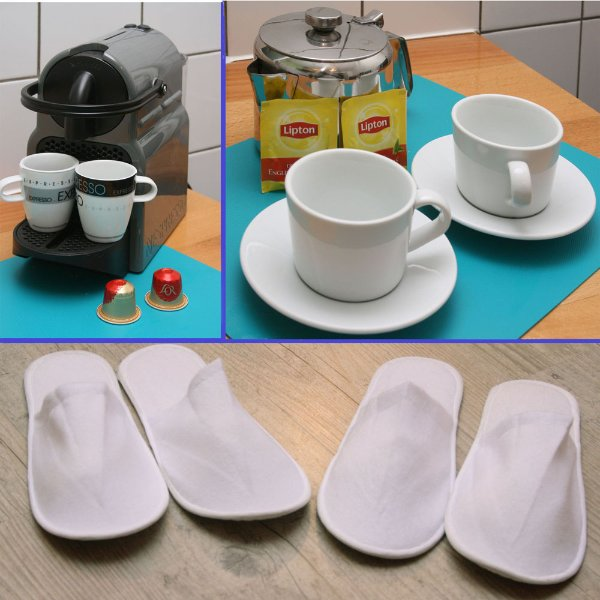 Welcome slippers, tea and nespresso.