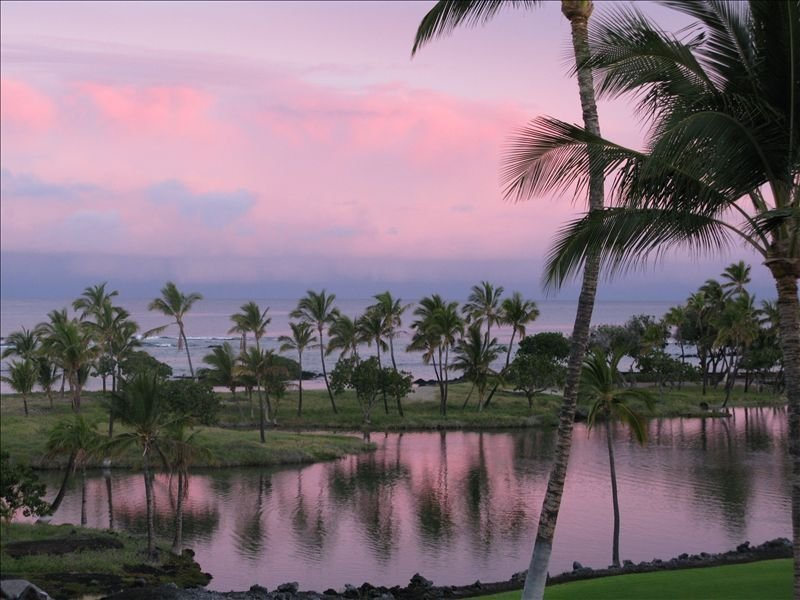 Sunrise over the Hawaiian fish ponds and the Pacific