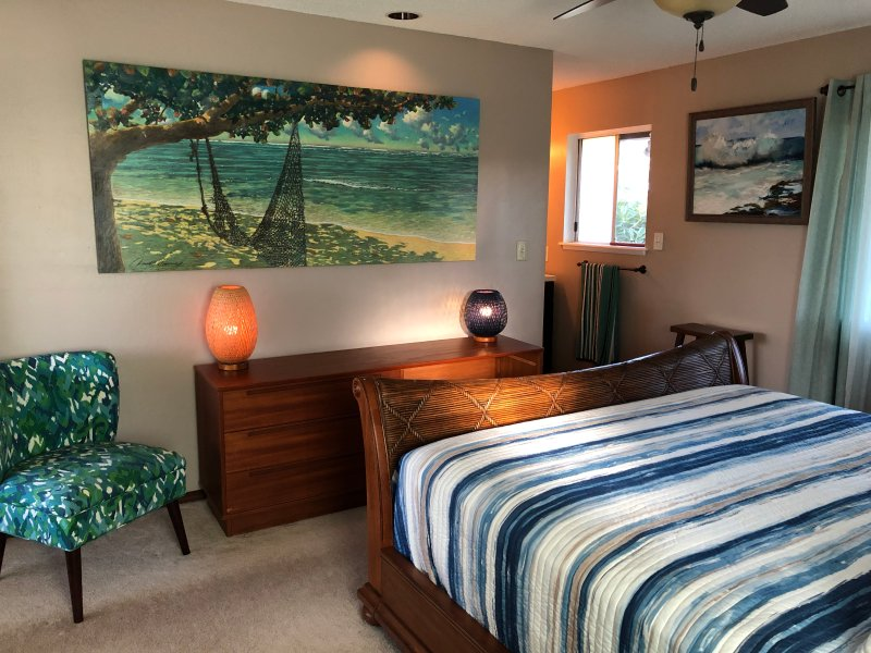 Guests get their own master bedroom and bath.
