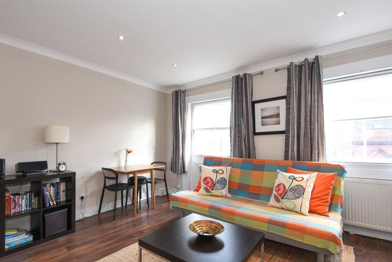 Sala de estar com sistema de entretenimento doméstico WIFI, TV a cabo, Playstation e TV LED grande