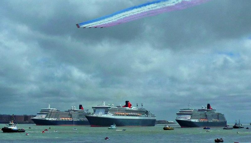 Three Queens visit Liverpool taken from Seacombe Ferry.