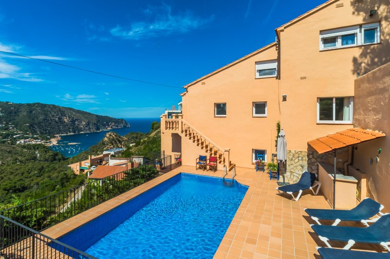 This pool terrace is one of several terraces at this villa with fabulous views over Aigua Blava Bay.