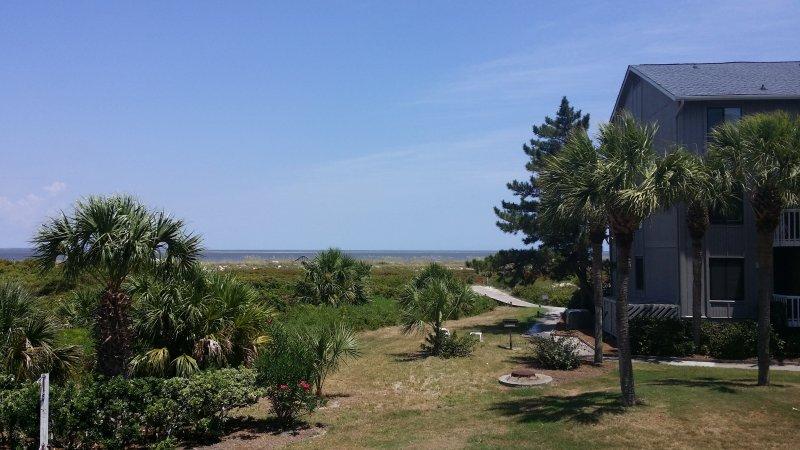 Sidewalk and boardwalk to the beach...a 3-minute walk.
