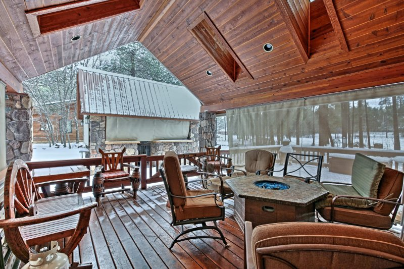 Relax on the large deck and warm up by the firepit!