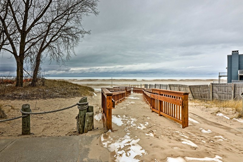 500 feet from your front door is the soft sand shores of North Beach.