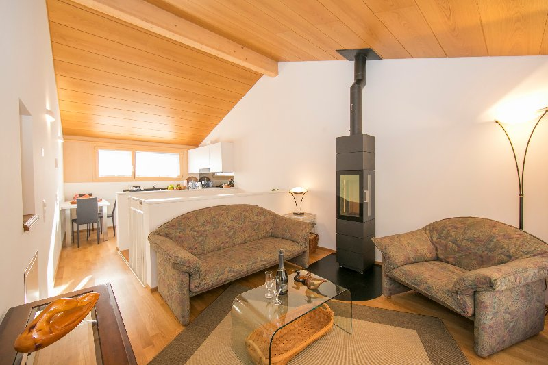 Living room with wood stove and  with access to the balcony