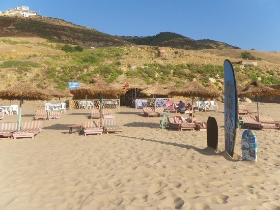 Beach for surfers 'Beach of pigeon Caves' 8 km away direction Larache city.
