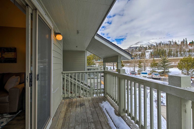 Take in the incredible mountain views from the private balcony.