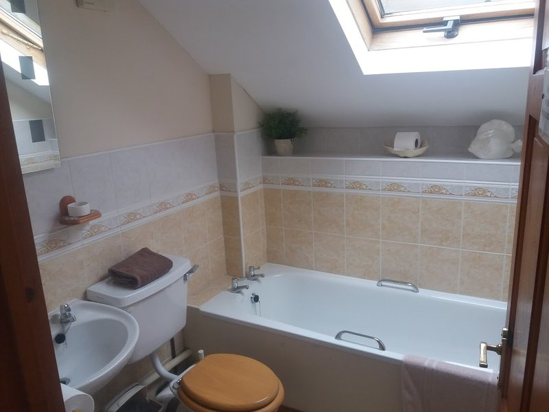 Upstairs bath with large walk in shower