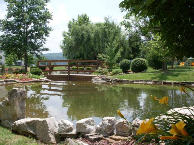 Fall Creek has  a nice pond to sit and watch the ducks and nature close to the pool and hot tubs.