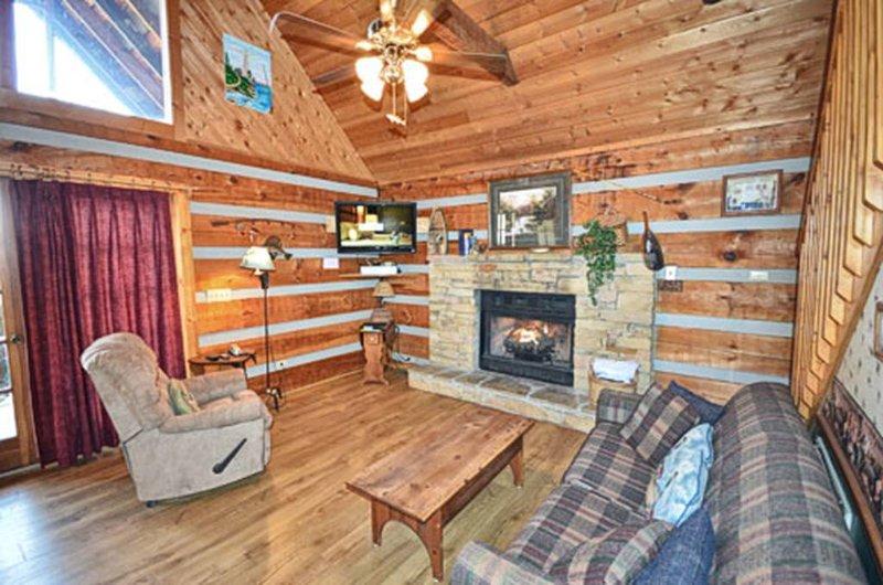 Living Room w / TV en gas open haard