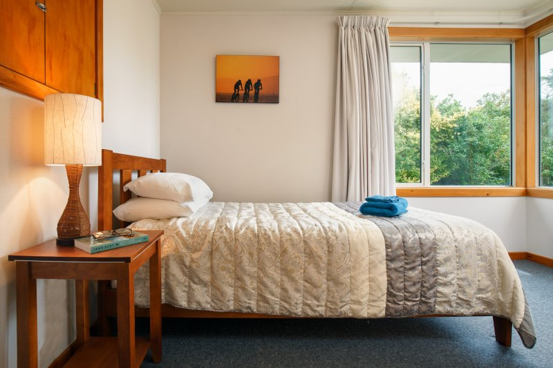 Bedroom three has a king single bed. All bedrooms have a bank heater.
